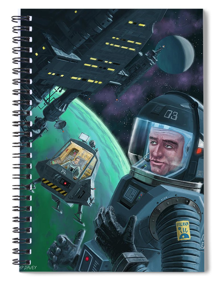 Space Spiral Notebook featuring the digital art Spaceman With Space Station Orbiting Green Planet by Martin Davey