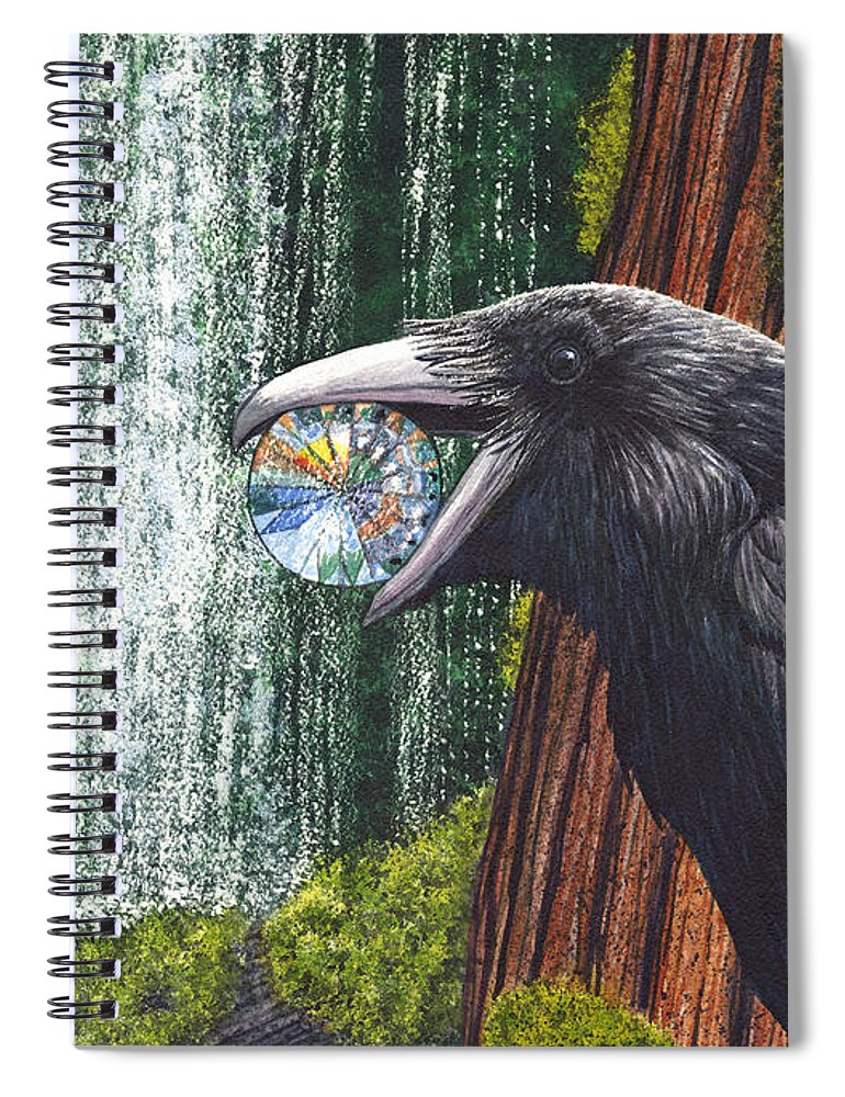 Raven Spiral Notebook featuring the painting Sparkle by Catherine G McElroy