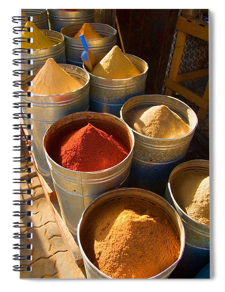 Spices Spiral Notebook featuring the photograph Spices In Marrakesh Morroco by David Smith
