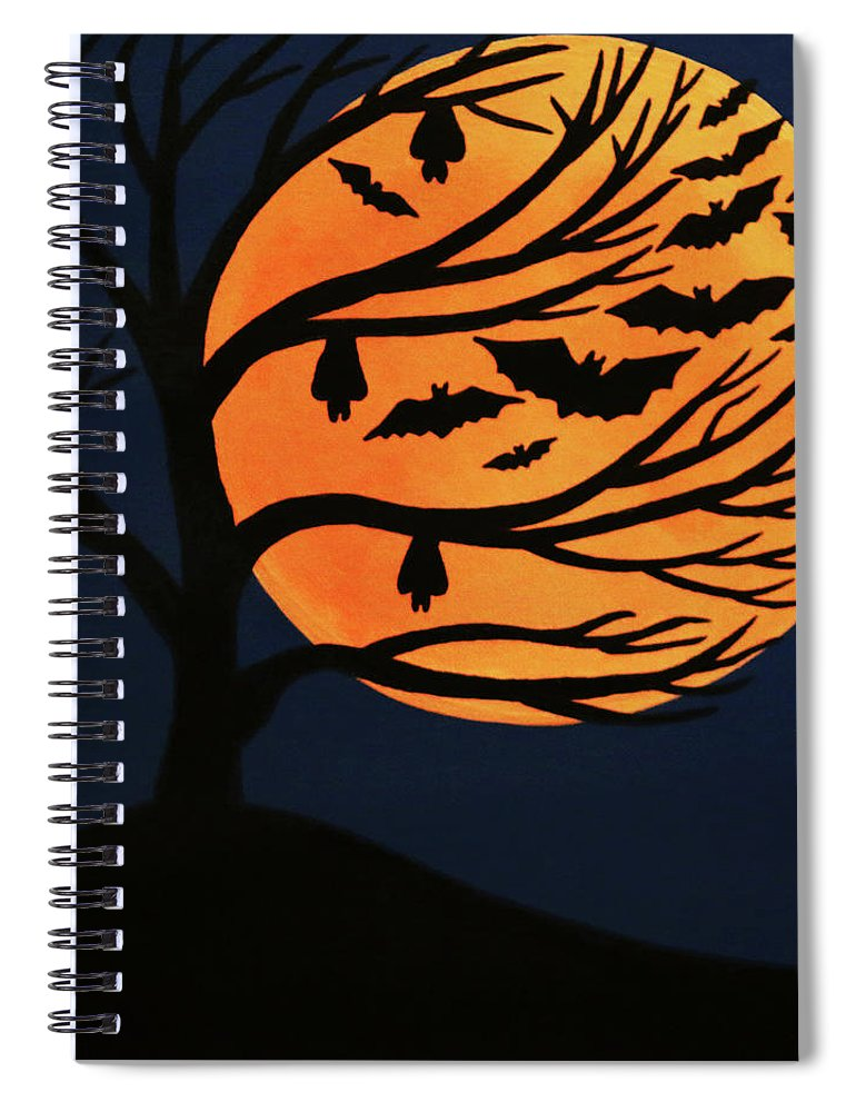 Spooky Bat Tree Spiral Notebook