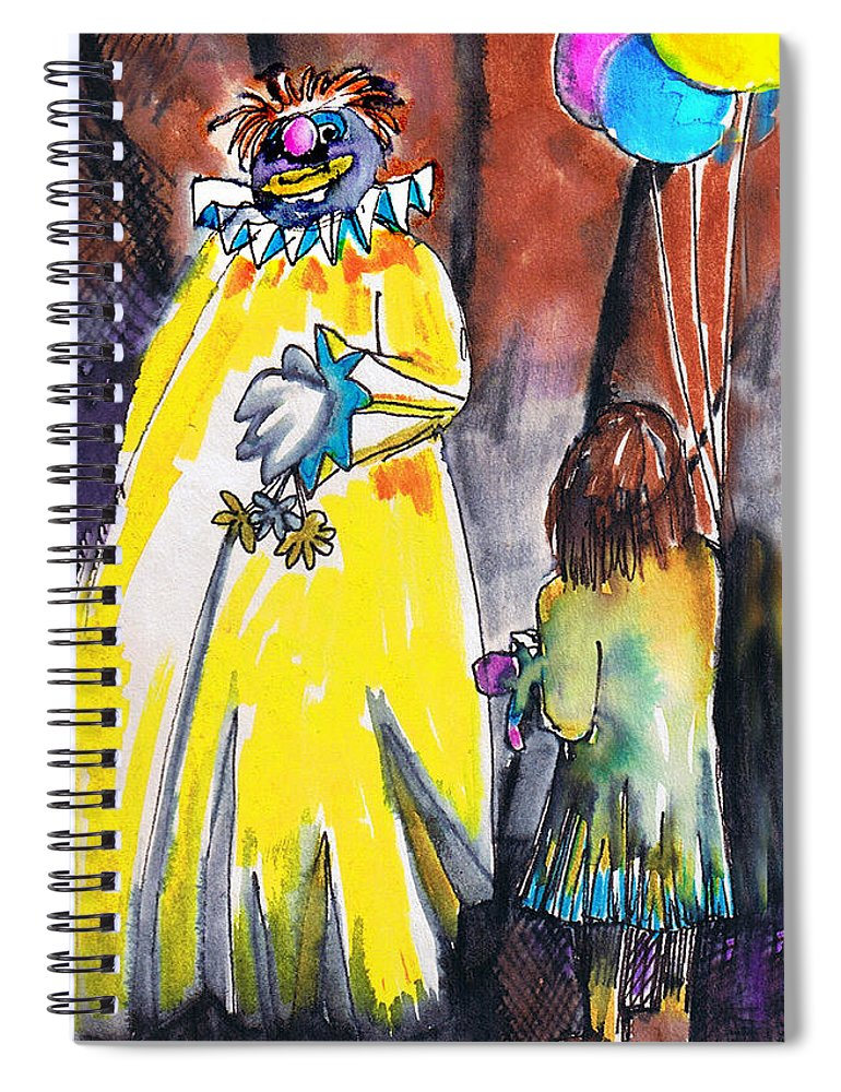 Watercolor Spiral Notebook featuring the painting Spooky Old Clown by Seth Weaver