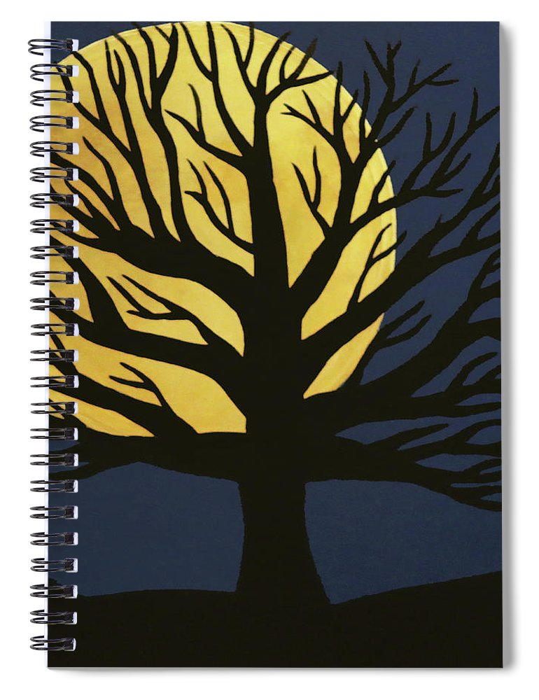 Spooky Tree Yellow Spiral Notebook