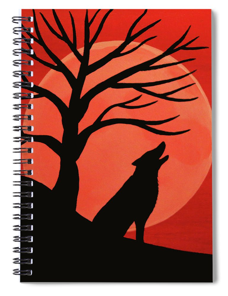 Spooky Wolf Tree Spiral Notebook