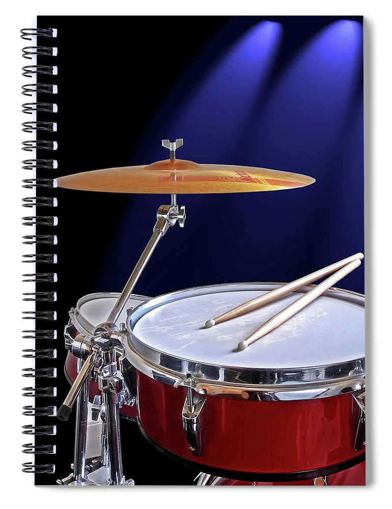 Music Spiral Notebook featuring the photograph Spotlight on Drums by Gill Billington