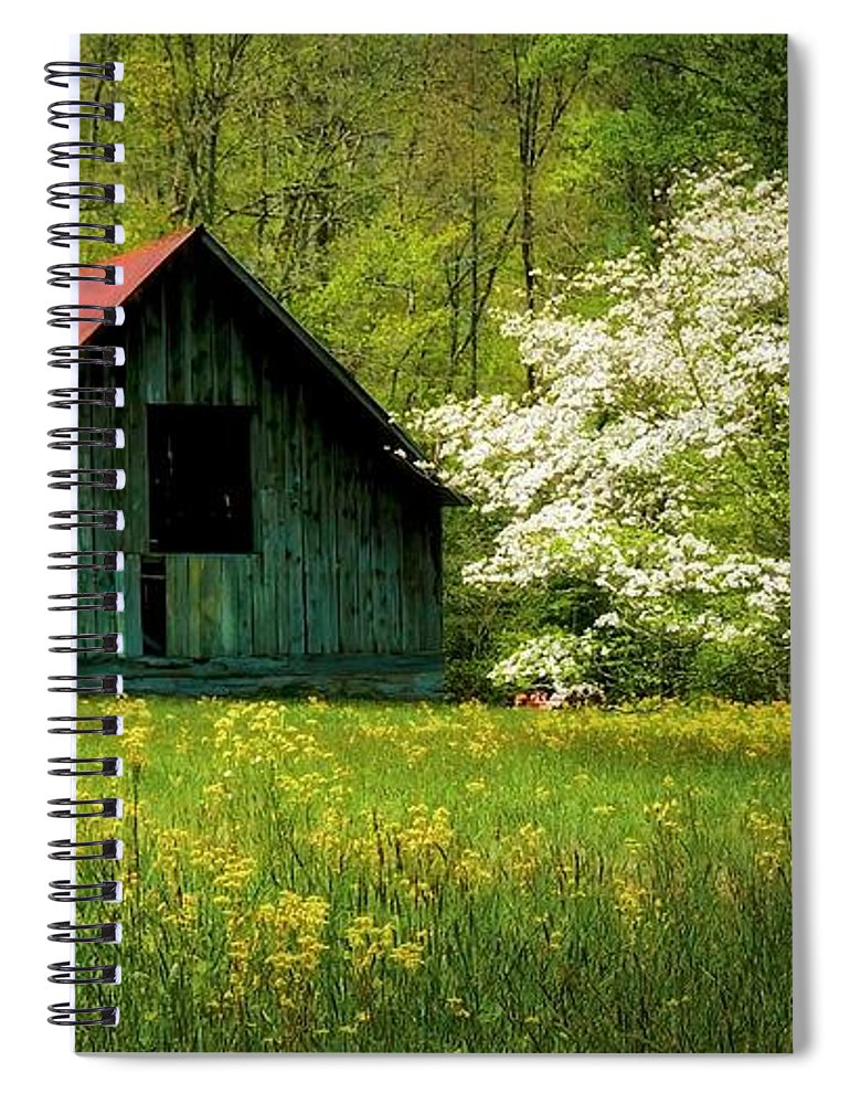 Blue Ridge Mountains Spiral Notebook featuring the photograph Spring and the Barn by Zayne Diamond Photographic