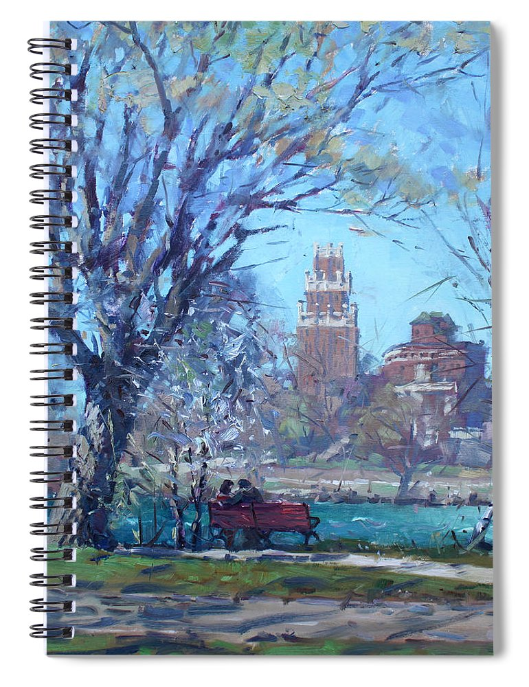 Spring Spiral Notebook featuring the painting Spring At Goat Island by Ylli Haruni