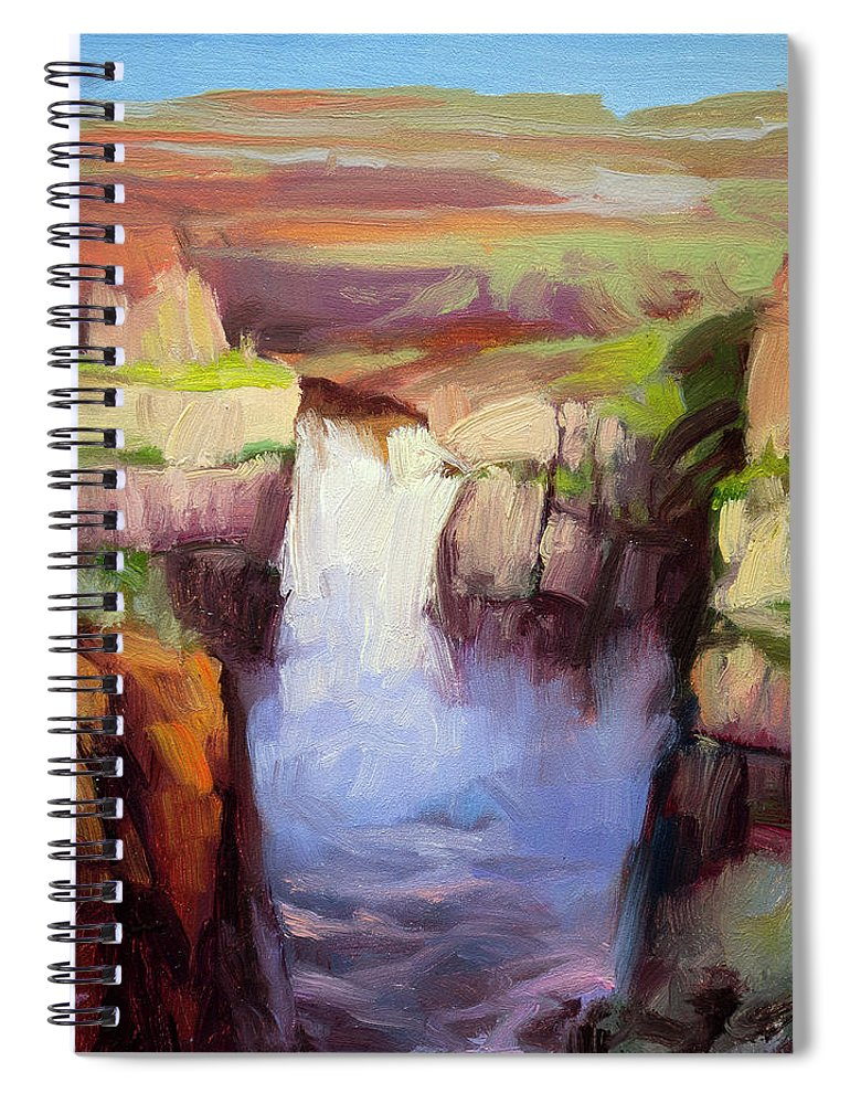 Waterfall Spiral Notebook featuring the painting Spring At Palouse Falls by Steve Henderson