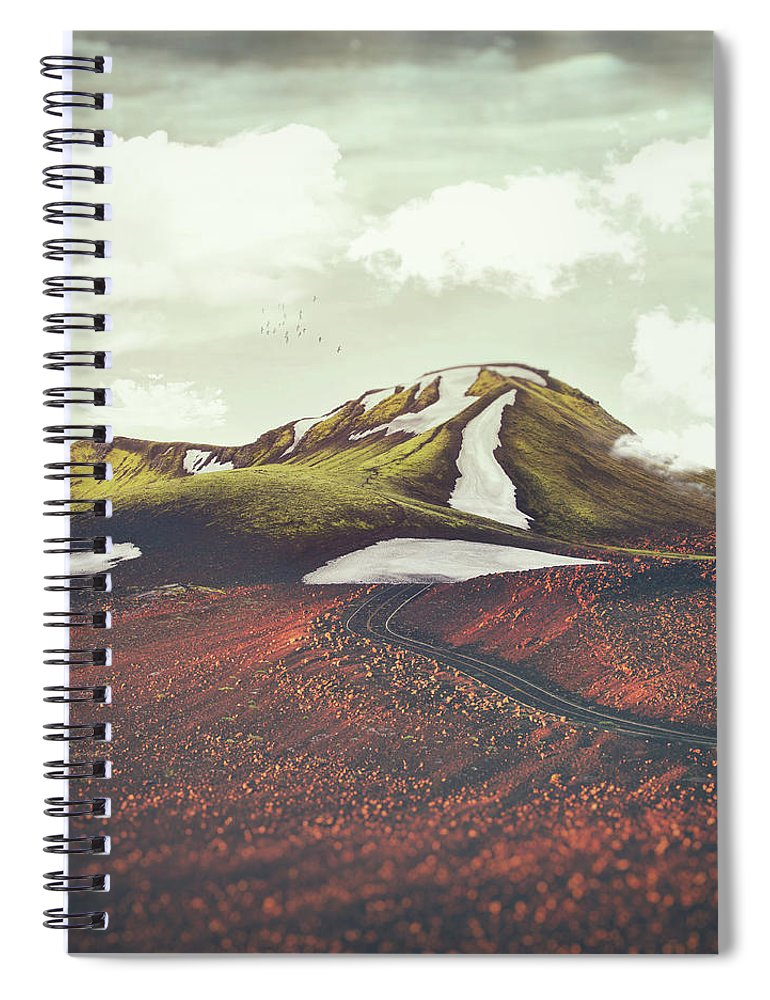 Landscape Spring Winter Dreamscape Hills Mountains Spiral Notebook featuring the digital art Spring Thaw by Katherine Smit
