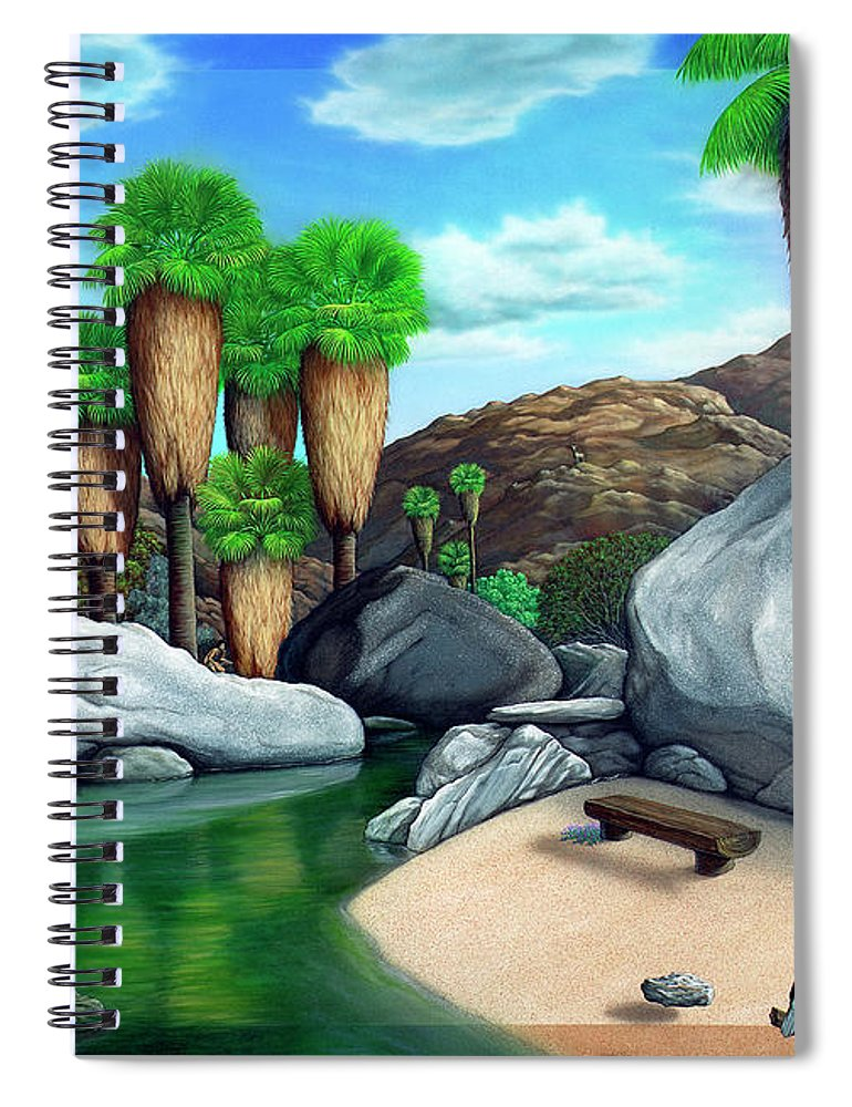 Landscape Spiral Notebook featuring the painting Springtime in the Canyons by Snake Jagger