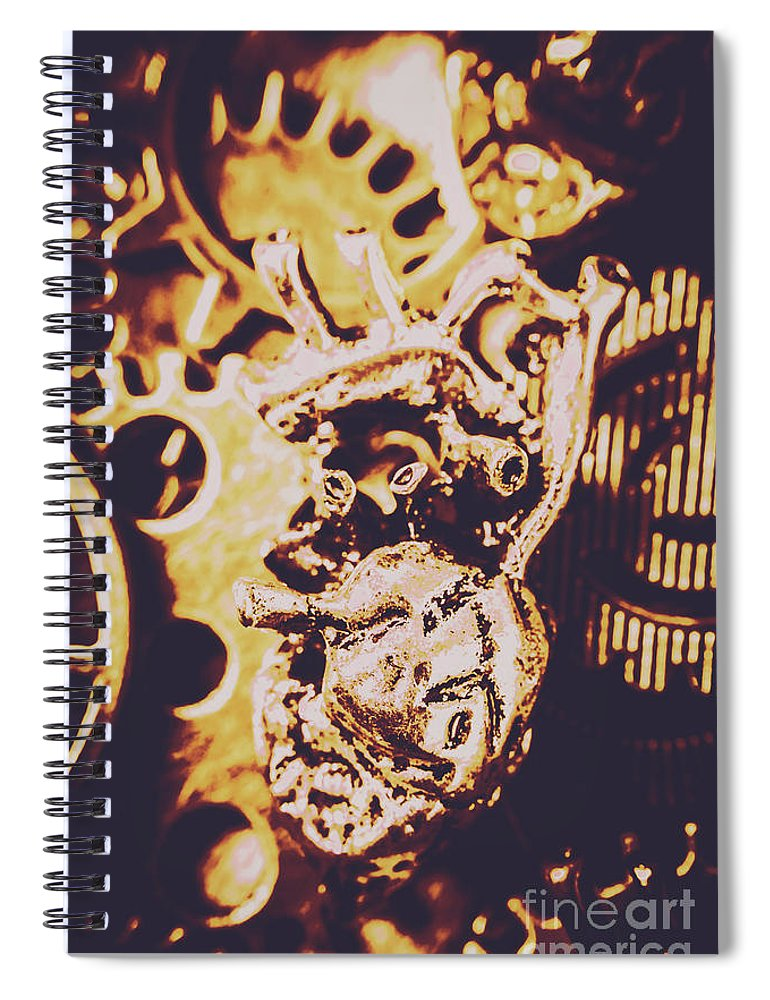 Gear Spiral Notebook featuring the photograph Sprockets And Clockwork Hearts by Jorgo Photography - Wall Art Gallery