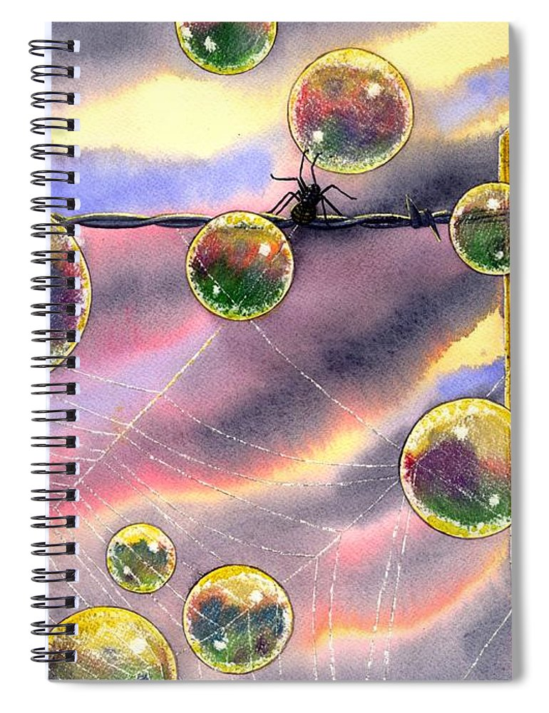 Bubbles Spiral Notebook featuring the painting Spyder by Catherine G McElroy