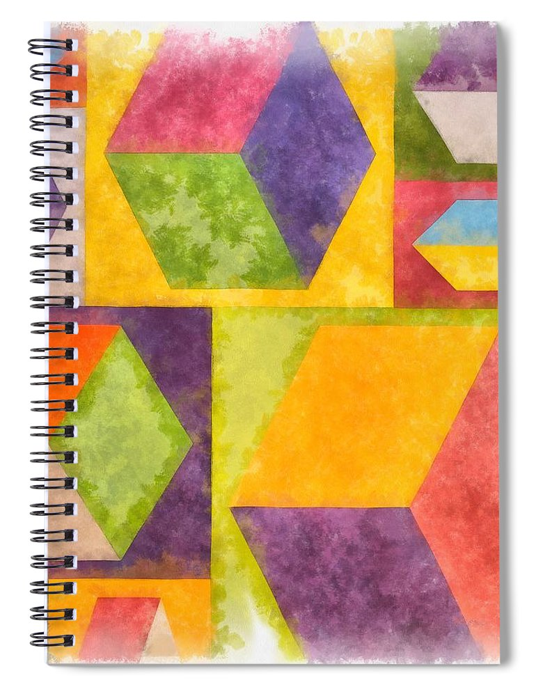 Painting Spiral Notebook featuring the painting Square Cubes Abstract by Edward Fielding
