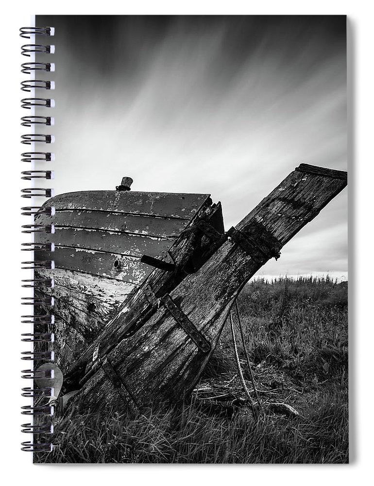 Fishing Boat Spiral Notebook featuring the photograph St Cyrus Wreck by Dave Bowman