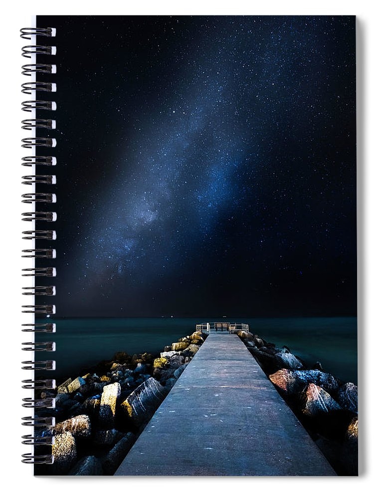 Galaxy Spiral Notebook featuring the photograph St. Pete Night by Marvin Spates