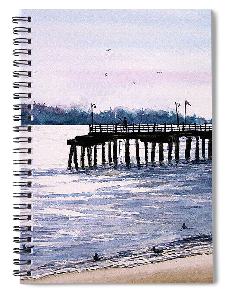 Fishing Spiral Notebook featuring the painting St. Simons Island Fishing Pier by Sam Sidders