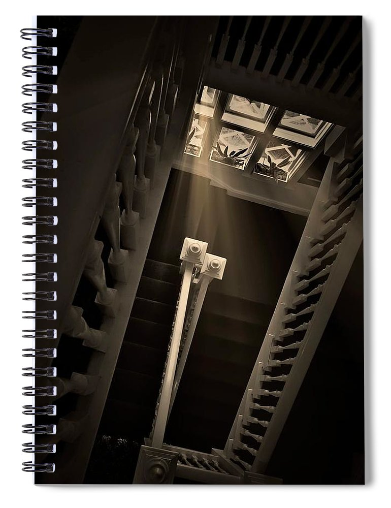 Old Spiral Notebook featuring the photograph Stairway Light, Redstone Castle, Colorado by Zayne Diamond Photographic