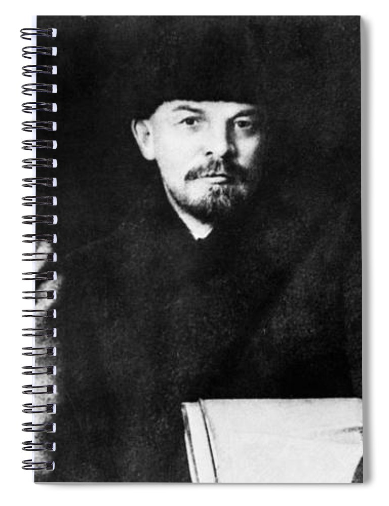 1919 Spiral Notebook featuring the photograph Stalin, Lenin & Trotsky by Granger