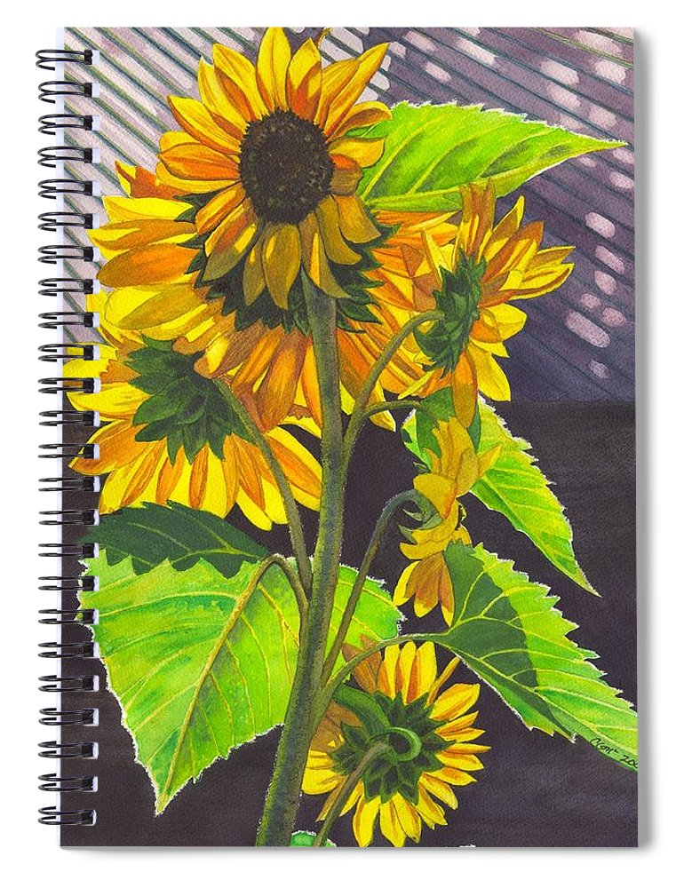 Sunflowers Spiral Notebook featuring the painting Stalk of Sunflowers by Catherine G McElroy