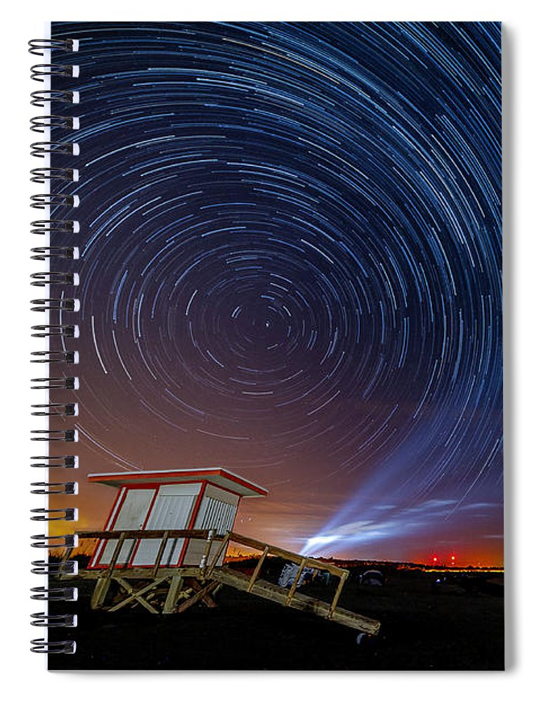 Delta Iv Heavy Scrub Spiral Notebook featuring the photograph Star Trails Before Launch by TJ Hunt