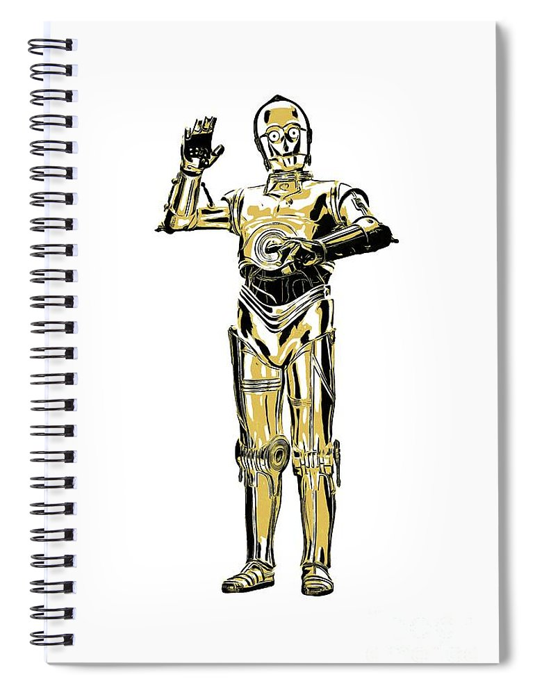 T-shirt Spiral Notebook featuring the painting Star Wars C-3po Droid Tee by Edward Fielding