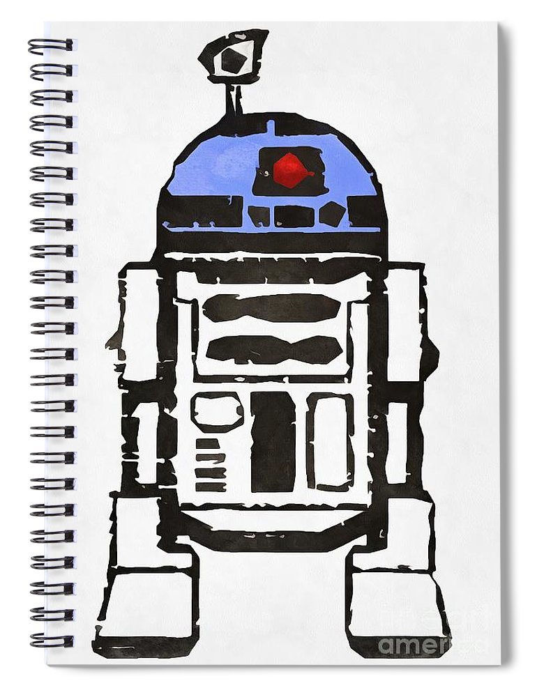 Star Wars Spiral Notebook featuring the painting Star Wars R2d2 Droid Robot by Edward Fielding