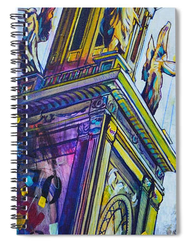 Architecture Spiral Notebook featuring the painting Stark County Ohio Courthouse by Christopher Triner