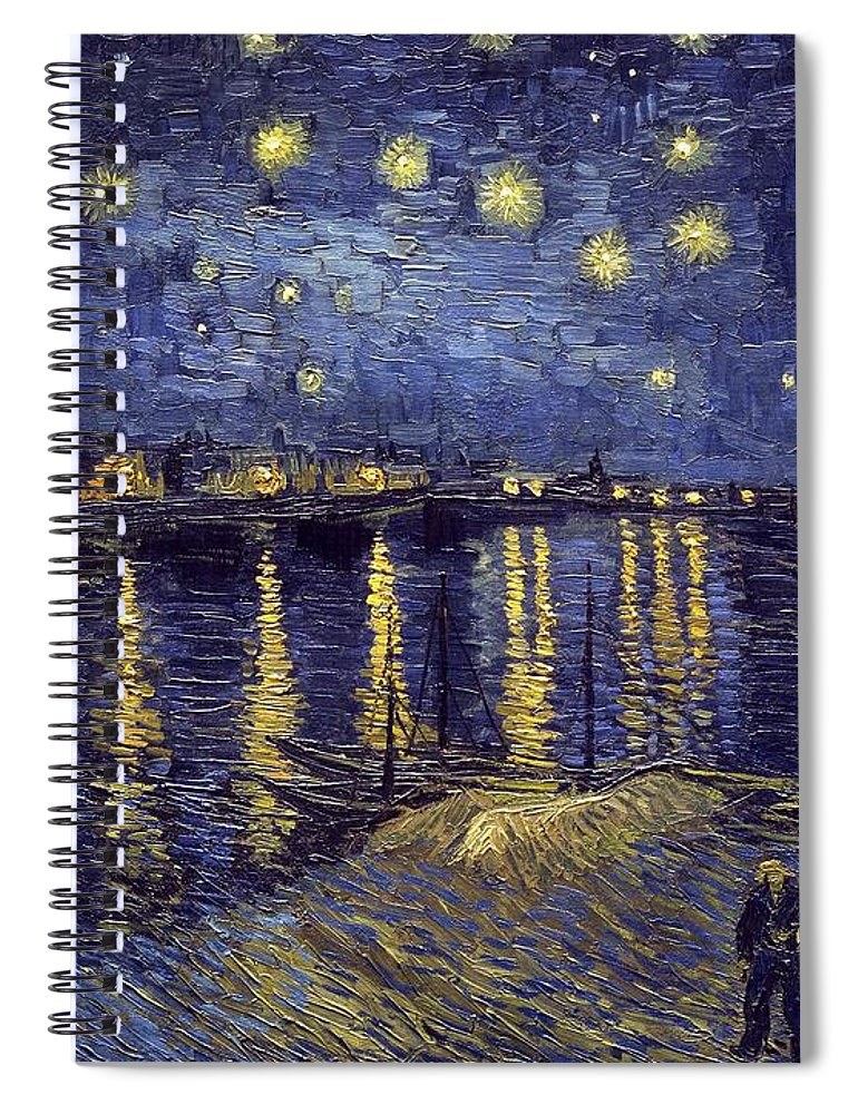 Vincent Van Gogh Spiral Notebook featuring the painting Starry Night Over The Rhone by Van Gogh