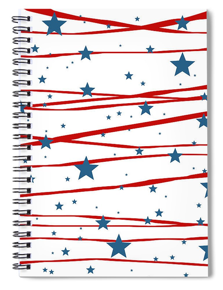Stars And Stripes Spiral Notebook featuring the digital art Stars and Stripes by Marianna Mills