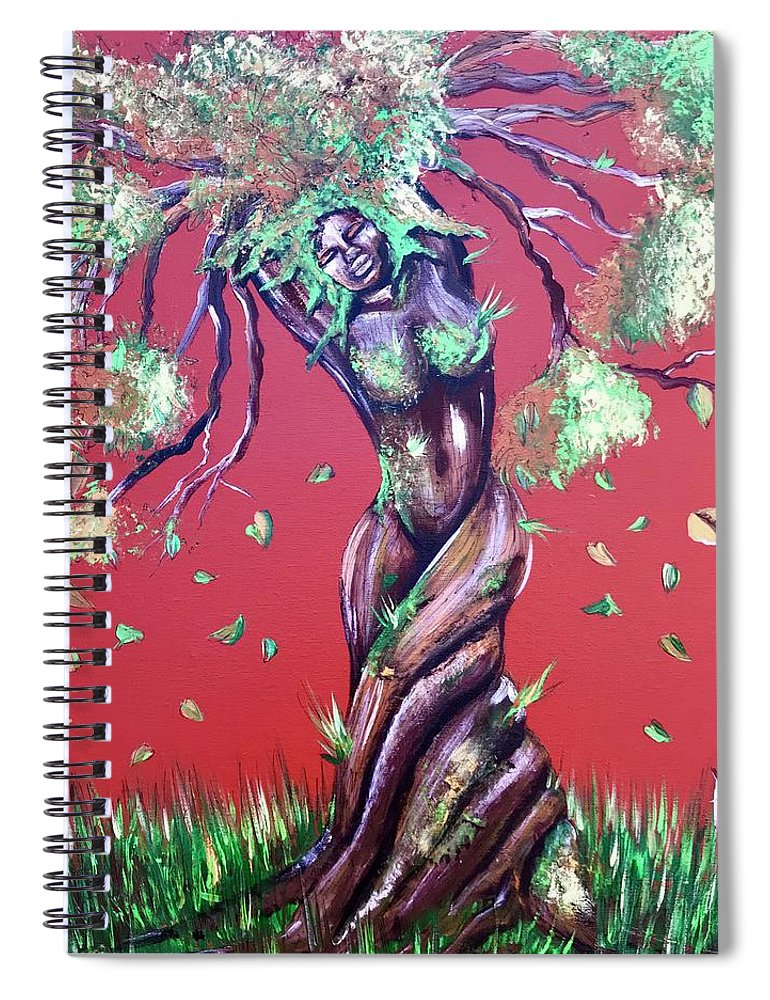 Tree Spiral Notebook featuring the painting Stay Rooted- Stay Grounded by Artist RiA