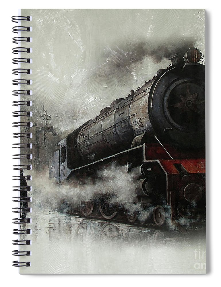 Trains Spiral Notebook featuring the painting Steam Train Engine 01 by Gull G