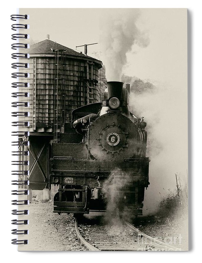 Antiquated Spiral Notebook featuring the photograph Steam Train by Jerry Fornarotto
