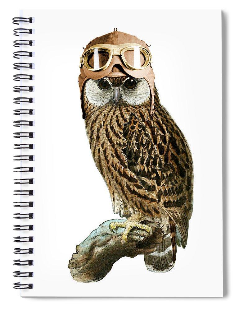 Steampunk Spiral Notebook featuring the digital art Steampunk Owl by Madame Memento