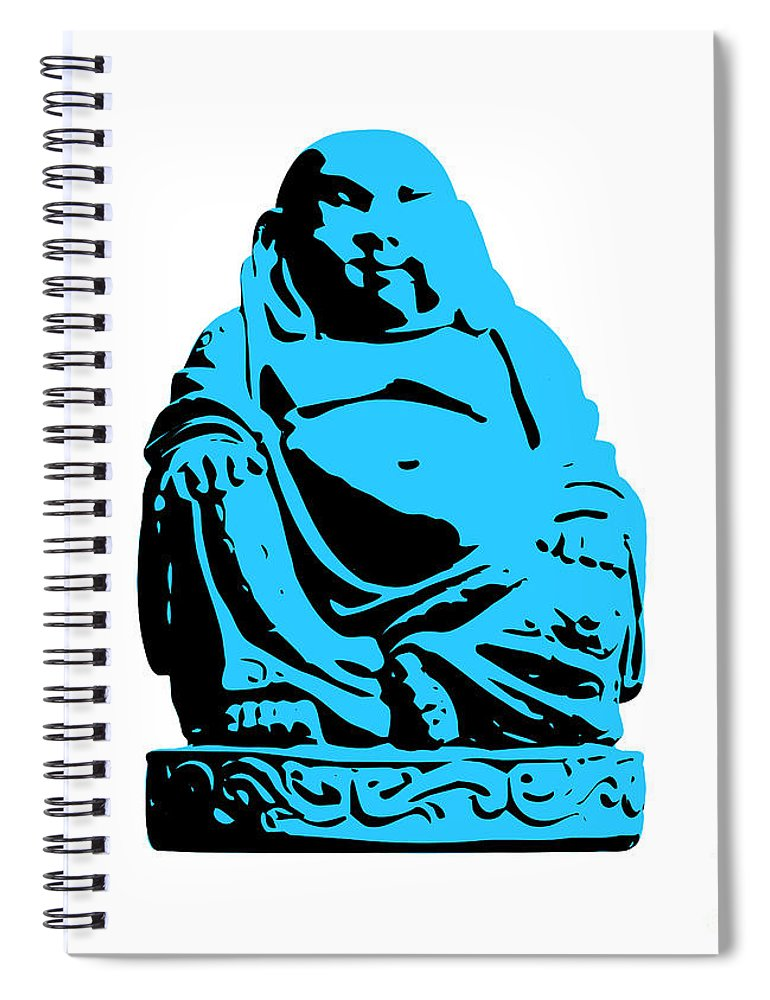 Andy Warhol Spiral Notebook featuring the digital art Stencil Buddha by Pixel Chimp