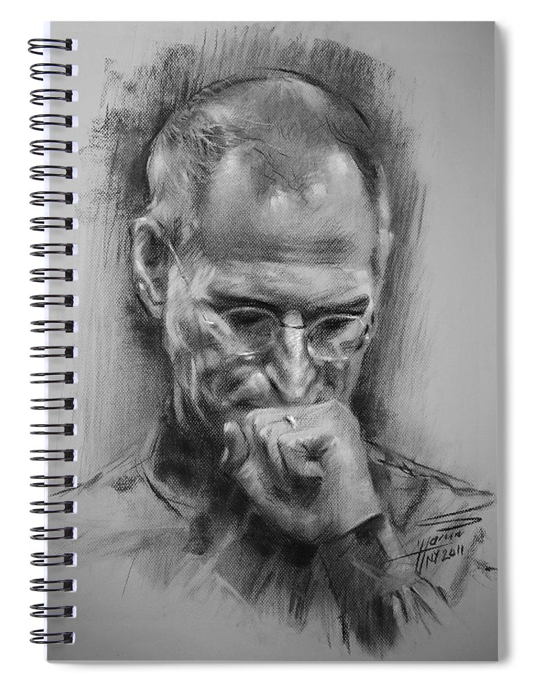 Steve Jobs Spiral Notebook featuring the drawing Steve Jobs by Ylli Haruni