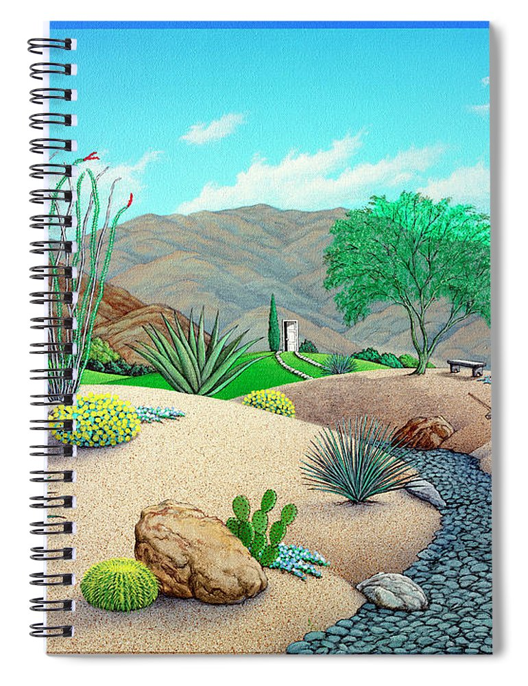 Landscape Spiral Notebook featuring the painting Steve's Yard by Snake Jagger