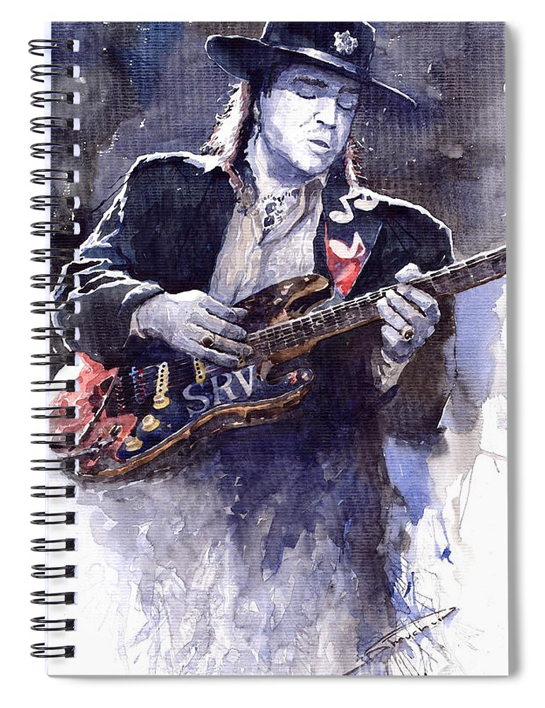 Guitarist Spiral Notebook featuring the painting Stevie Ray Vaughan 1 by Yuriy Shevchuk