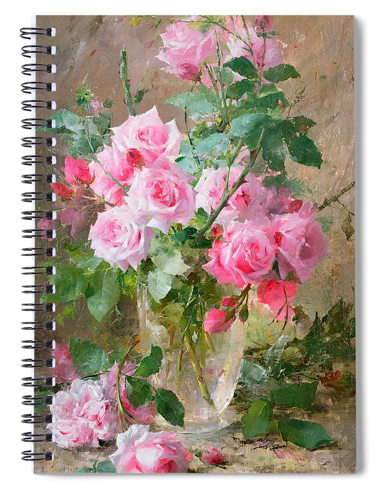 Still Spiral Notebook featuring the painting Still Life Of Roses In A Glass Vase by Frans Mortelmans