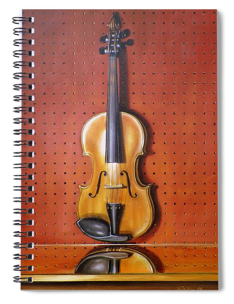 Art Spiral Notebook featuring the painting Still Life of Violin by RB McGrath
