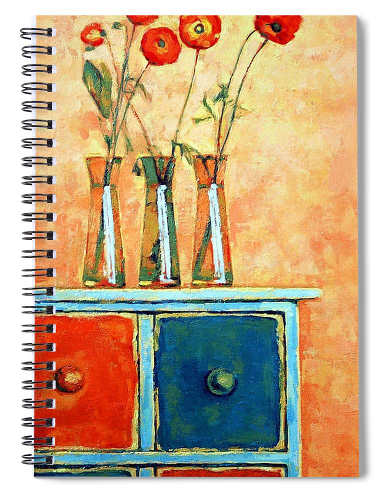 Poppies Spiral Notebook featuring the painting Still life with poppies by Iliyan Bozhanov