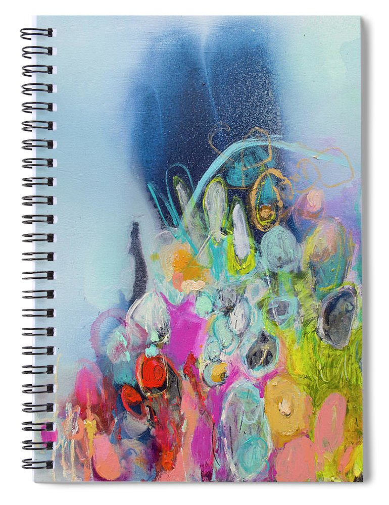 Abstract Spiral Notebook featuring the painting Still Playing by Claire Desjardins