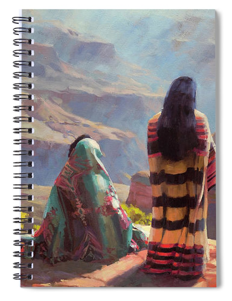 Southwest Spiral Notebook featuring the painting Stillness by Steve Henderson