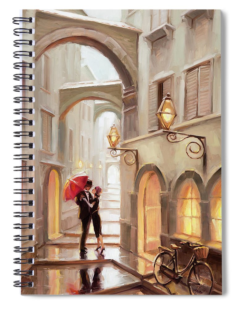 Love Spiral Notebook featuring the painting Stolen Kiss by Steve Henderson