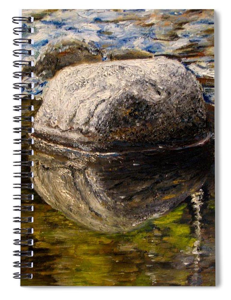 Original Painting Spiral Notebook featuring the painting Stone landscape original oil painting by Natalja Picugina