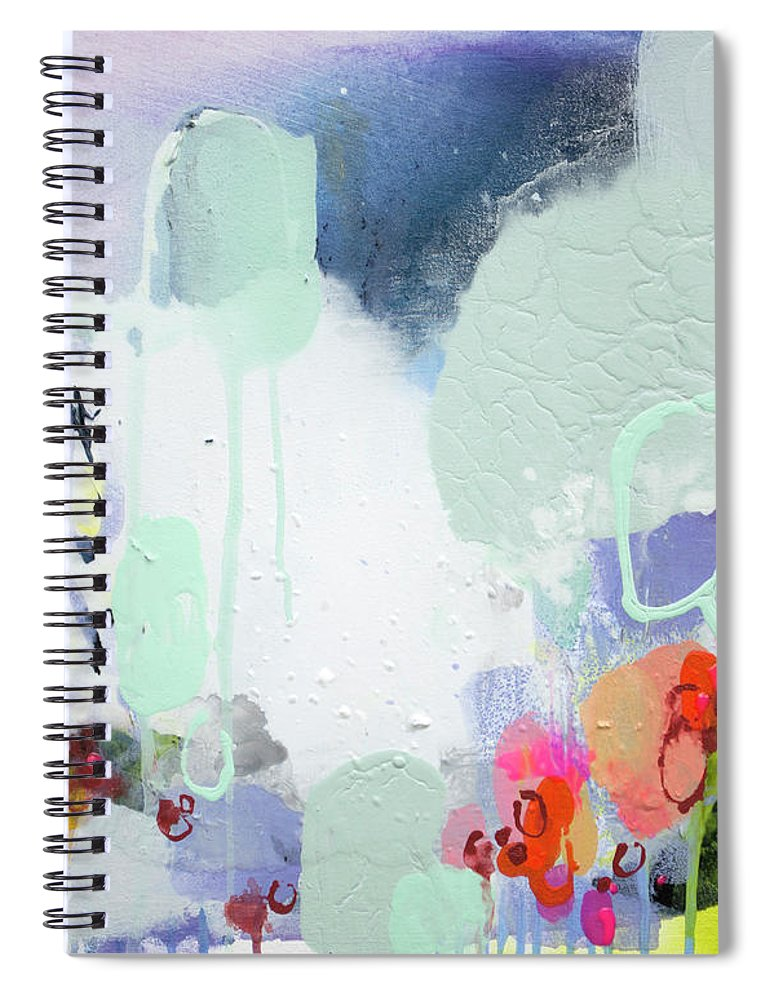 Abstract Spiral Notebook featuring the painting Stories by Claire Desjardins