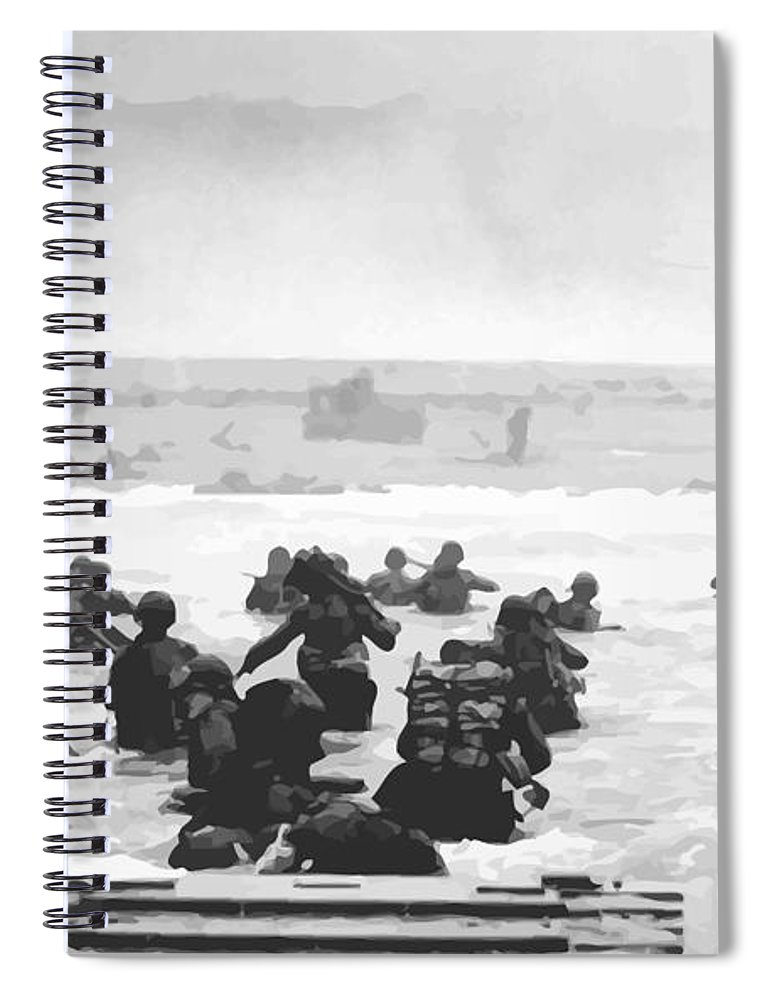 D Day Spiral Notebook featuring the painting Storming The Beach On D-Day by War Is Hell Store