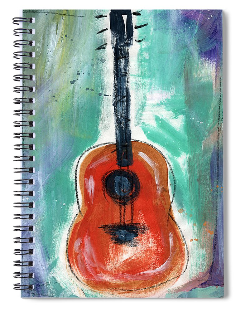 Guitar Spiral Notebook featuring the painting Storyteller's Guitar by Linda Woods