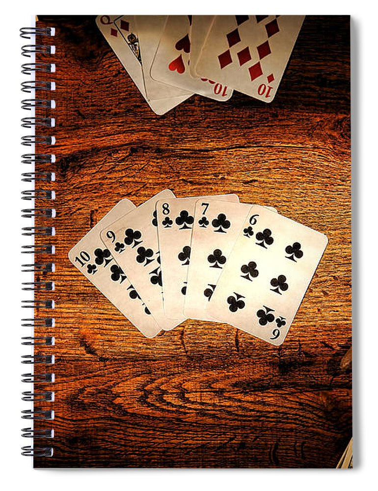 Western Spiral Notebook featuring the photograph Straight Flush by Olivier Le Queinec