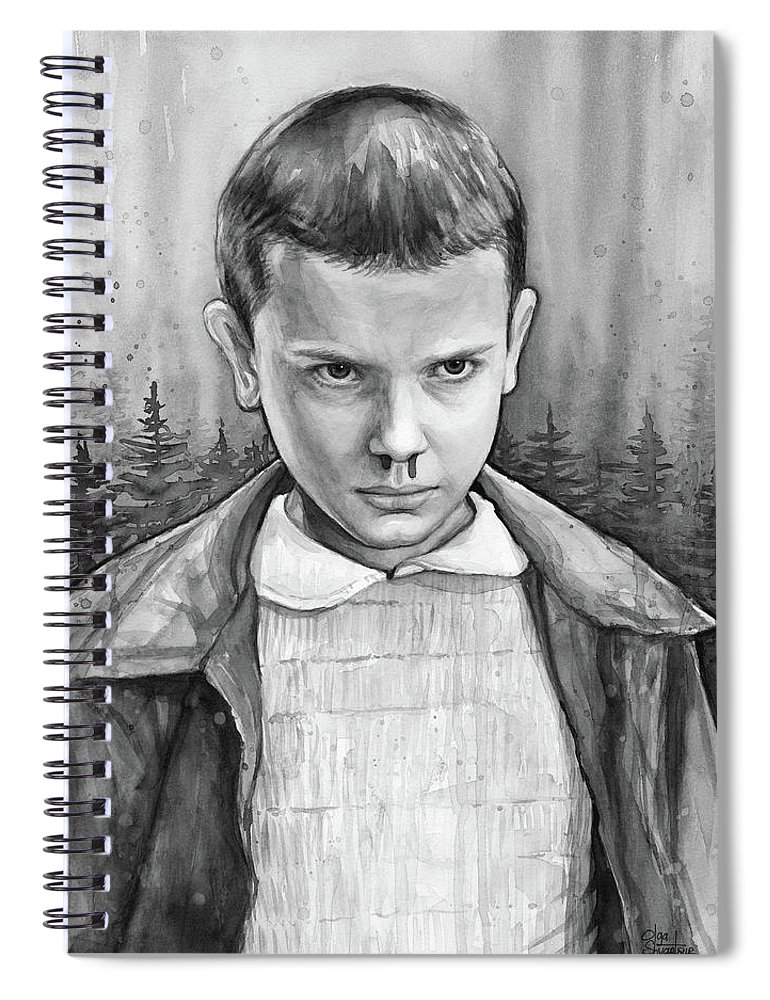 Stranger Things Spiral Notebook featuring the painting Stranger Things Fan Art Eleven by Olga Shvartsur