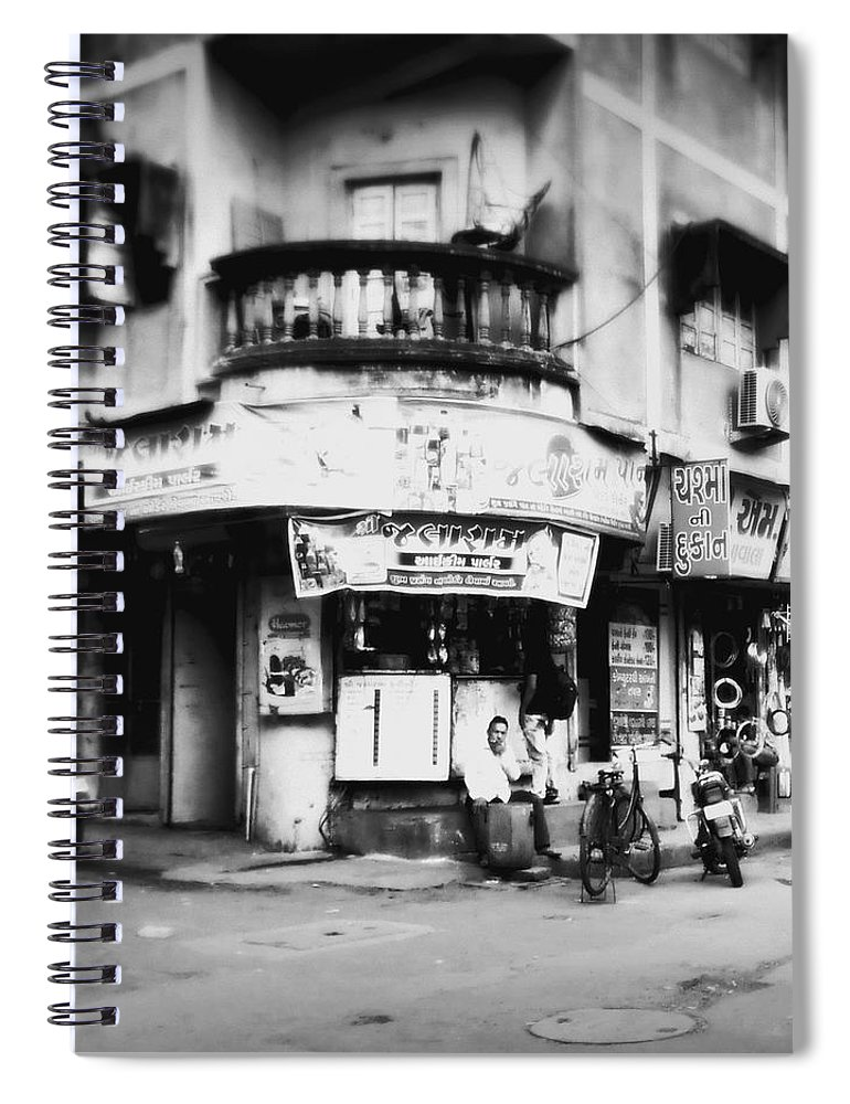 #street Photograohy #crossroads #street Corners #street Shops Spiral Notebook featuring the photograph Streetshots_surat by Priyanka Dave