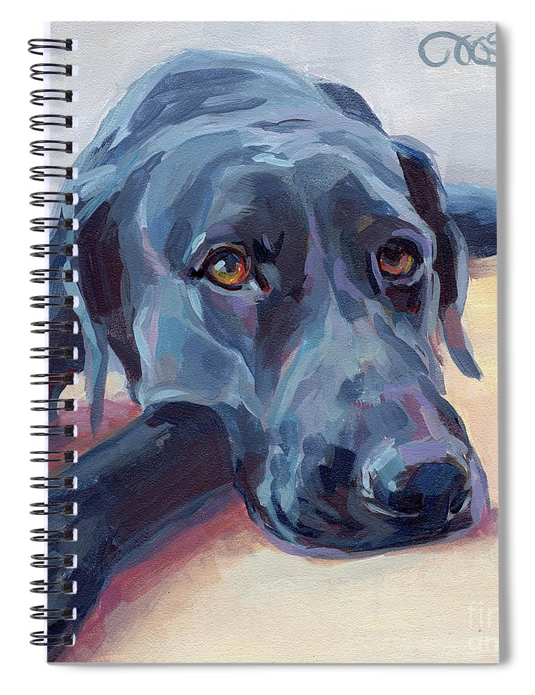 Black Lab Spiral Notebook featuring the painting Stretched by Kimberly Santini